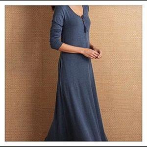 Soft Surroundings Med Maxi Dress Blue Tassel Zip